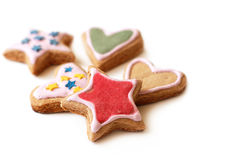 Mångfärgade kakor för hemlagad jul Arkivfoton