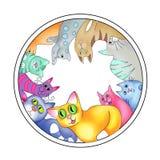 Mångfärgade katter ordnade i en cirkel stock illustrationer
