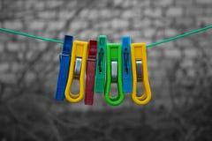 mångfärgade klädnypor arkivfoto