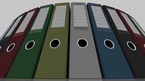 Mångfärgade kontorslimbindningar, sned bollskott för låg vinkel framförande 3d Arkivfoto