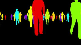 Mångfärgade konturer av folk som går på en svart bakgrund royaltyfri illustrationer