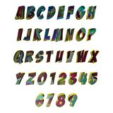 Mångfärgade mönstrade 3D bokstäver/alfabet/nummer Arkivfoto