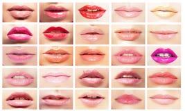 Mångfärgade munnar Uppsättning av kvinnors kanter Ljus makeup & skönhetsmedel Arkivbild