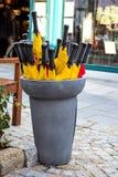 mångfärgade paraplyer arkivfoto