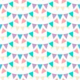 Mångfärgade pastellfärgade buntingsgirlander som isoleras på vit bakgrund Sömlös modell för vektor i plan stil bakgrundsdesignele vektor illustrationer