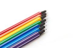 Mångfärgade pennor Fotografering för Bildbyråer