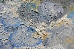 Mångfärgade penseldrag av olje- målarfärg på kanfas Royaltyfri Fotografi