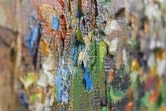 Mångfärgade penseldrag av olje- målarfärg på kanfas Royaltyfria Bilder