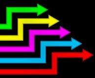 mångfärgade pilar Arkivfoton