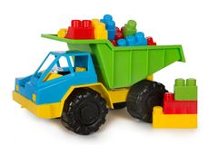 Mångfärgade plast- leksaker fotografering för bildbyråer
