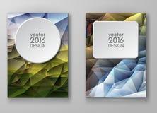Mångfärgade Polygonal mosaiska bakgrunder för broschyr Arkivfoto