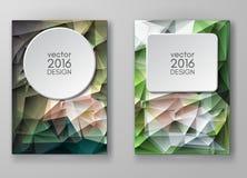 Mångfärgade Polygonal mosaiska bakgrunder för broschyr Arkivbild