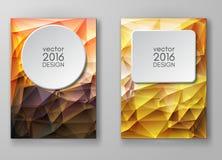 Mångfärgade Polygonal mosaiska bakgrunder för broschyr Royaltyfria Bilder