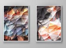 Mångfärgade Polygonal mosaiska bakgrunder för broschyr Arkivbilder