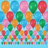 Mångfärgade rader av ballonger Royaltyfri Illustrationer