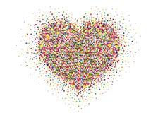 Mångfärgade regnbågekonfettier i formen av en hjärta vektor Royaltyfria Foton