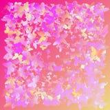 Mångfärgade rosa färger, lilor, gula flygfjärilar på en vit bakgrund Isolerat anmärka Design för vektorfjärilsbakgrund Arkivfoto