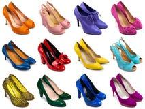 mångfärgade skor för 1 kvinnlig Royaltyfri Bild