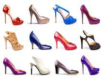 mångfärgade skor för kvinnlig Royaltyfria Bilder