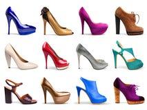 mångfärgade skor för kvinnlig Royaltyfri Bild