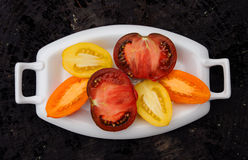 mångfärgade tomater Arkivbild