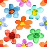 Mångfärgade vattenfärgblommor Royaltyfri Bild