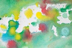 Mångfärgade vattenfärgfärgstänk som bakgrund Abstrakt vattenfärgtextur och bakgrund för formgivare Fotografering för Bildbyråer