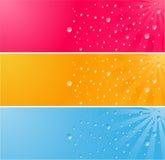mångfärgade waterdrops för baner Arkivfoton