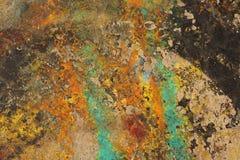 Mångfärgat abstrakt begrepp texturerad bakgrund Grungy vägg - nära u Royaltyfria Bilder