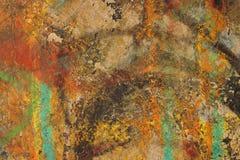 Mångfärgat abstrakt begrepp texturerad bakgrund Grungy vägg - nära u Royaltyfri Bild