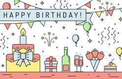 Mångfärgat horisontalhälsningkort för lycklig födelsedag Minimalistic design för översikt Royaltyfri Foto