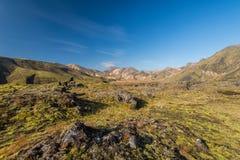 Mångfärgat landskap i Landmannalaugar, Island Fotografering för Bildbyråer