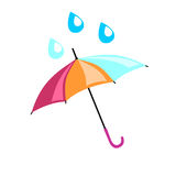 Mångfärgat paraply på som droppande en droppe Härlig tillbehör Arkivfoton