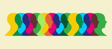 mångfärgat samkväm för växelverkan stock illustrationer