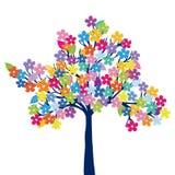 Mångfärgat träd på vit bakgrund vektor illustrationer