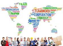 Mångfald- och teamworkbegrepp med olika yrken royaltyfri fotografi