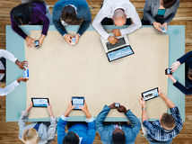 MångfaldaffärsTeam Planning Board Meeting Strategy begrepp arkivbilder