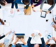 MångfaldaffärsTeam Planning Board Meeting Strategy begrepp royaltyfri bild