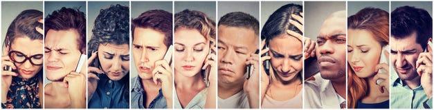 Mångkulturell grupp av ledsna folkmän och kvinnor som talar på mobiltelefonen royaltyfri foto