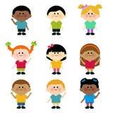 Mångkulturell grupp av ungar. Royaltyfri Bild