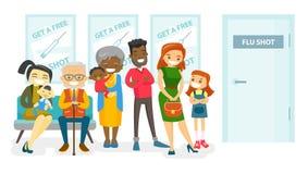 Mångkulturellt folk som väntar på ett influensaskott royaltyfri illustrationer