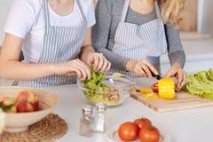 Mère agréable et fille impliquées faisant cuire la salade végétale Photo stock
