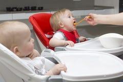 Mère alimentant ses enfants Photos libres de droits