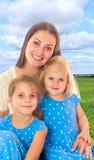 Mère avec deux descendants Images libres de droits