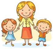 Mère avec deux enfants illustration stock