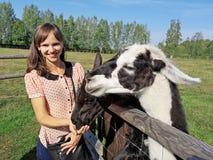 Mère avec l'enfant et le jeune lama blanc sur le champ vert images libres de droits