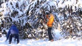 Mère avec le bébé dans la forêt d'hiver banque de vidéos