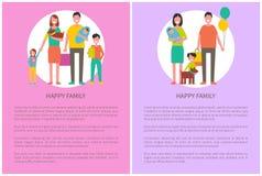 Mère avec le bébé sur des mains, père Holding Balloons illustration stock