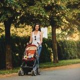 Mère avec le landau en parc photos stock