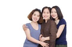 Mère avec sa fille au-dessus de blanc Photos libres de droits